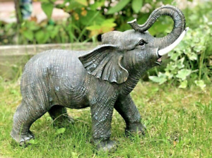 Grey Resin Lucky African Elephant Safari Garden Statue Sculpture Ornament Large