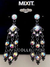 BID NOW!!! NWT MIXIT Holographic Gun Metal Multifaceted Chandelier Earrings