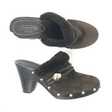 Coach Womens Ivanka Suede Fur Wooden Clogs Heels size 8 Brown Gold Studded