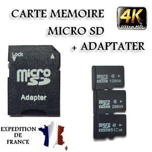 CARTE MÉMOIRE MICRO SD SDHC SDXC 32 64 128 256 512 GO GB CLASS 10 MEMORY CARD