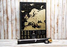 Deluxe Scratch map Europe - Best gift, large black map,Personal map, push pin