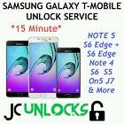 Remote TMobile ATT Samsung Galaxy S6 Edge Note 5 4 S6 GSM SIM Unlock Service