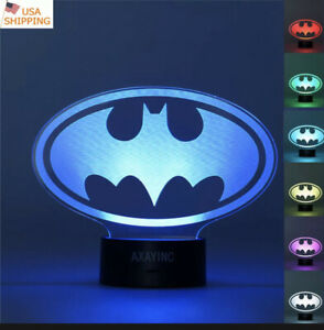 3D LED Batman Logo  Night Light Illusion Table Desk Lamp Different Colors