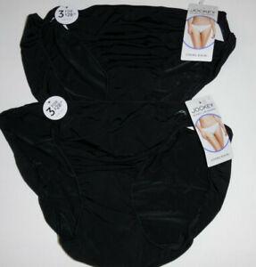 2 Jockey Nylon Bikini Panty Set 1330 Soft Silky Smooth No Line Logo Black 7 L