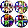 """THE WHO/ MOD/60'S LEGENDS/ SET OF 4 X (1""""/ 25 mm) POP ART RETRO BUTTON BADGES"""