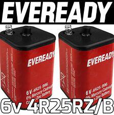 2x EVEREADY 4R25RZ/B 6v PJ996 Torch Lantern Battery 6 Volt 908 996 430 Batteries