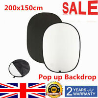 200 x 150cm Photo Studio Pop Up Backdrop Background Screen Black&White UK Stock