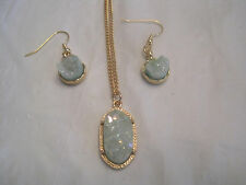 "Ice Blue Druzy Earring and Oval Pendant on 18"" Gold Necklace~Free Ship~LBDEZ"