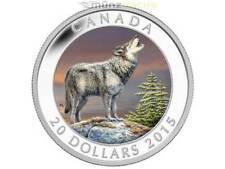 20 $dólares Wolf canadá Canada 2015 pp 1 Oz plata Silver