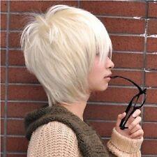 New fashion Korean handsome boy short Platinum Blond hair Men's Anime COS wig ZA