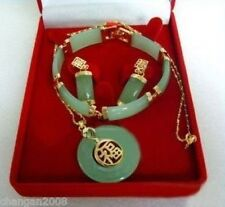 Real lucky jade pendant bracelet earrings sets
