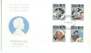 Tristan Da Cunha The Queen Mother 1985 Set + Mini Sheet on First Day Covers