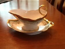 Limoges France - Floral w/Gold Border - Gravy Boat with Liner