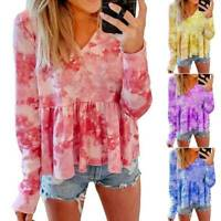 Women Tie Dye V Neck Long Sleeve T Shirts Ladies Casual Loose Ruffle Tops Blouse