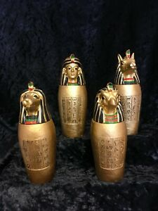 Set of 4 Gold Coloured Egyptian Canopic Jars can be used as Trinket Boxes