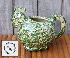 Vintage Chicken/Rooster Gravy Pitcher Alpine Pottery Roseville Green Sponge