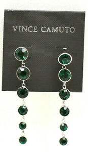 Vince Camuto Crystal Long Drop Earrings Green Silvertone New! NWT