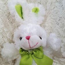 "Animal Adventure Bunny Rabbit White Soft Fluffy Green Bow Ears 12"" 2017"