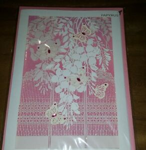 PAPYRUS CARD ANY OCCASION Japanese Garden FLOWERS/BUTTERFLIES PINK NEW