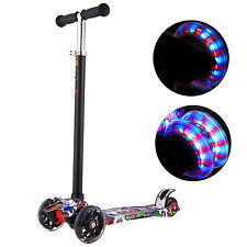 Kids Scooter Deluxe for Toddler Adjustable Kick Scooters Girls Boys LED Wheels ~