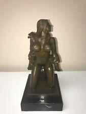 female statue - Nude Kneeling Girl Bronze Art - bronze sculpture / statue