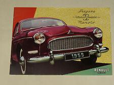GRAND Catalogue RENAULT FREGATE MANOIR  1959 Brochure Prospectus prospekt car