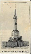Stampa antica SAN FERMO della BATTAGLIA obelisco a Garibaldi Como 1888 Old Print