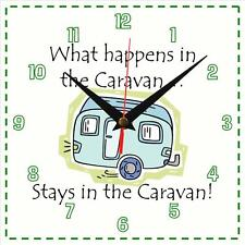 "Handmade ""What happens in the caravan"" novelty fun gift present wall clock"