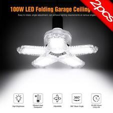2Pack 100W Deformable LED Garage Light Bright Shop Ceiling Lights Fixture Bulb