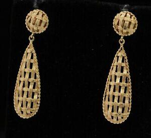 14K gold beautiful woven bamboo motif drop dangle earrings