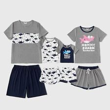 Casual Splice Round Neck Summer Shark Pattern Family Matching Pajama Clothes Set