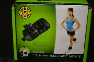 Gold's Gym 10 LB Pair Adjustable Ankle Wrist Weights (2) 5 lb In Box