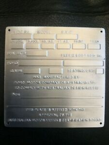 Rare Limited Run Ford Falcon XY GT HO Style (Restoration) Build Plate