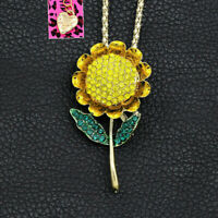 Betsey Johnson Yellow Enamel Crystal Sunflower Pendant Necklace/Brooch Pin Gift
