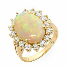 42 ct Opal and diamond ring 14k gold