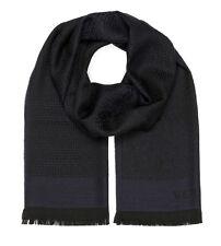 Versace Collection Men's Navy Blue Medusa Geometric 100% Wool Scarf