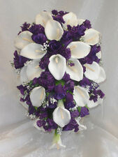 WHITE & PURPLE Cascade Bridal Bouquet ~ Calla Lilies Roses Silk Wedding Flowers