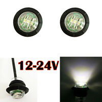 2 Mini 3/4 inch Mount White LED Bullet Lamp Truck Trailer Round Side Marker SUV