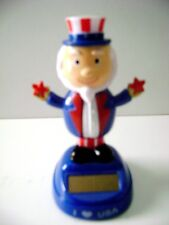Solar Powered Dancing Patriotic Uncle Sam Bobble Head Toy With Hat