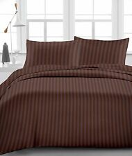 "Fitted Sheet, 1000 TC, Drop 15""Inch, Queen Size- Chocolate Stripe"