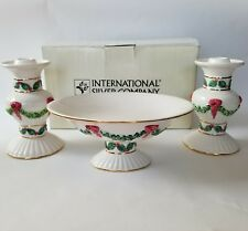 International Silver Candy Dish Candle Holders Holly Christmas Ceramic Gold Rim