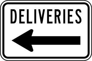 "Deliveries (Left Arrow) Sign  8""x12"" .040″ Aluminum English/Spanish T5256"