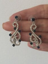 Beautiful Blue & Clear Crystal Swirl Dangle Brass Rhodium Plated Earring