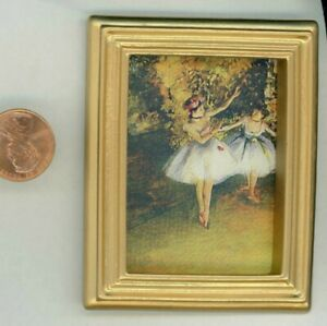 Miniature Dollhouse Picture  Young Lady Ballerinas in Plain Gold Frame /#7