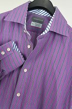 THOMAS DEAN Mens Purple Striped L/S Flip Cuff Dress Shirt 15.5-35 Cotton