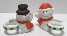 Vintage Ceramic Enesco Snowmen Candle Huggers Set Of 2