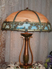 ANTIQUE 12 PANEL SLAG GLASS ELECTRIC TABLE LAMP