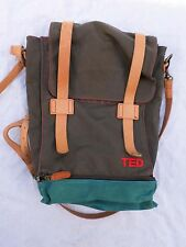 TED TALKS Target exclusive green canvas tan leather laptop backpack