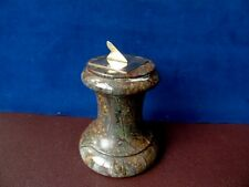 Antique Miniature Brass Sundial Mounted On A Polished Serpentine Marble Plinth