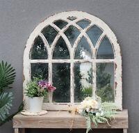 Parisloft Farmhouse Distressed Arched Window Pane Wood Framed Wall Mirror
